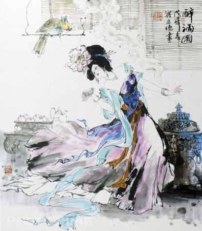 手绘美女彩色铅笔画
