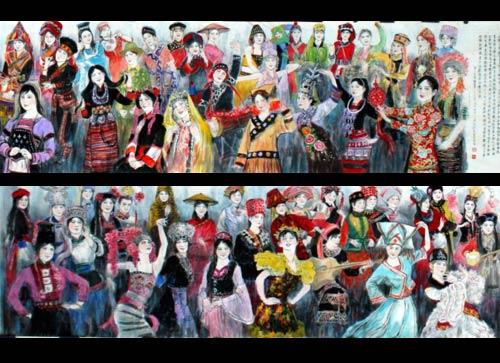 [56个民族人物儿童画] 民族团结儿童画 儿童画人物