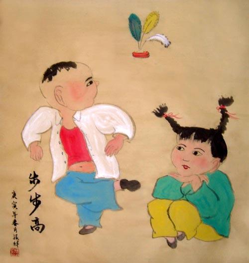 儿童踢毽子手绘