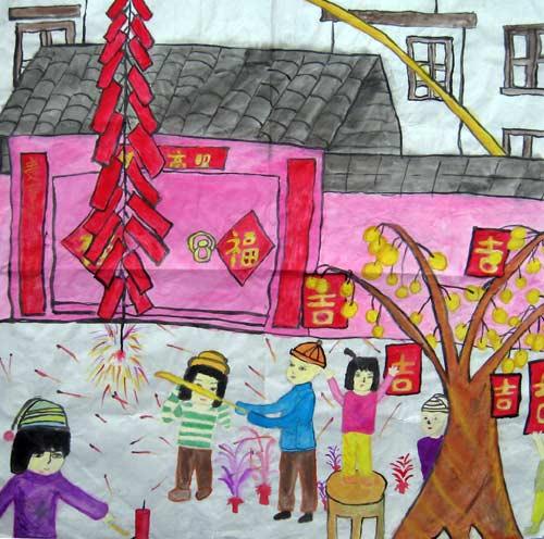 小学生春节手抄报图片春节画报小学生春节的画图片